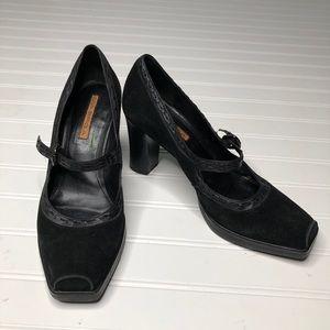 Via Spiga black suede clip toe Mary Jane heels